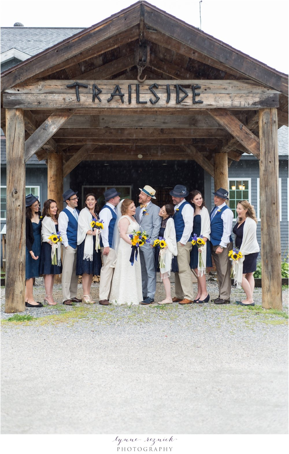 full bridal party portrait at trailside inn wedding killington vt