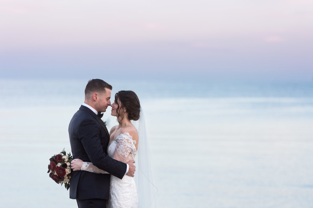 bride and groom at classic stamford yacht club wedding on CT shoreline