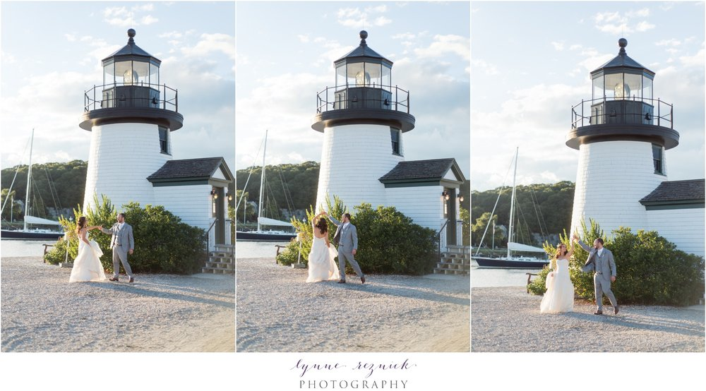 mystic seaport lighthouse dancing bride and groom photo