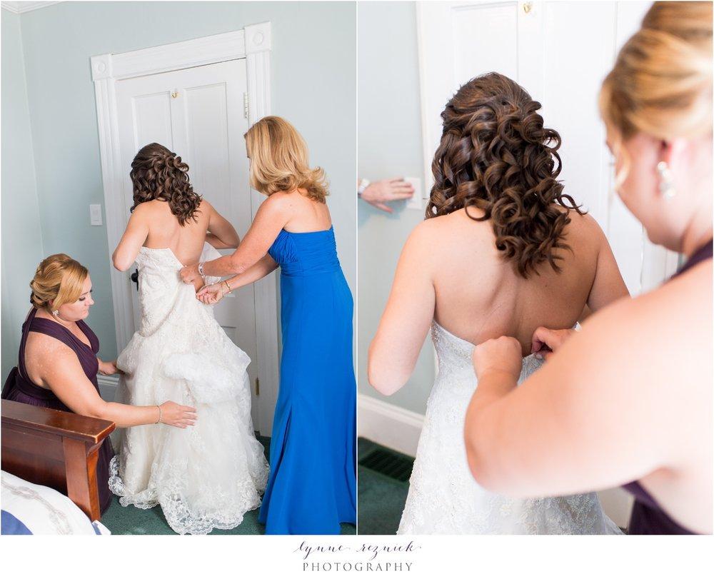 bride getting ready CT shoreline nautical wedding