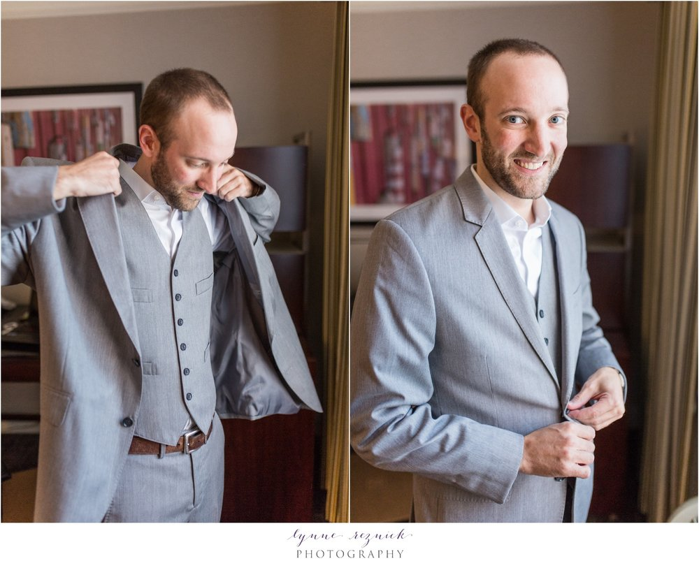 groom 3-piece suit getting ready