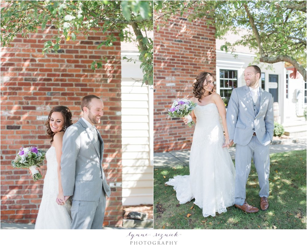 bride and groom first look at Latitude 41 wedding in Mystic