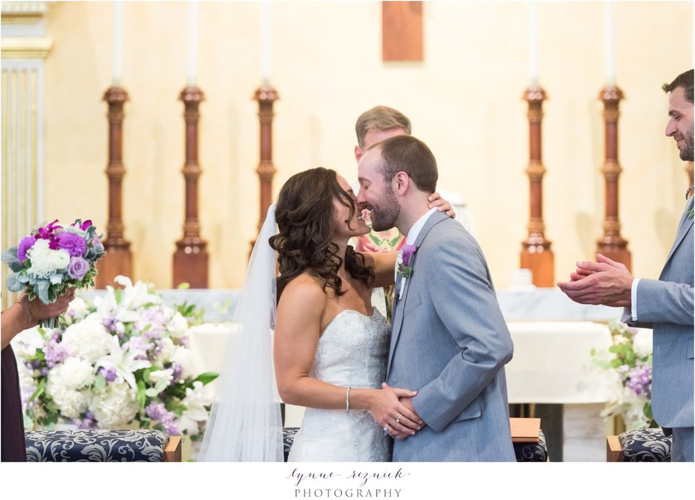 first kiss St. Mary Church Stonington CT Wedding