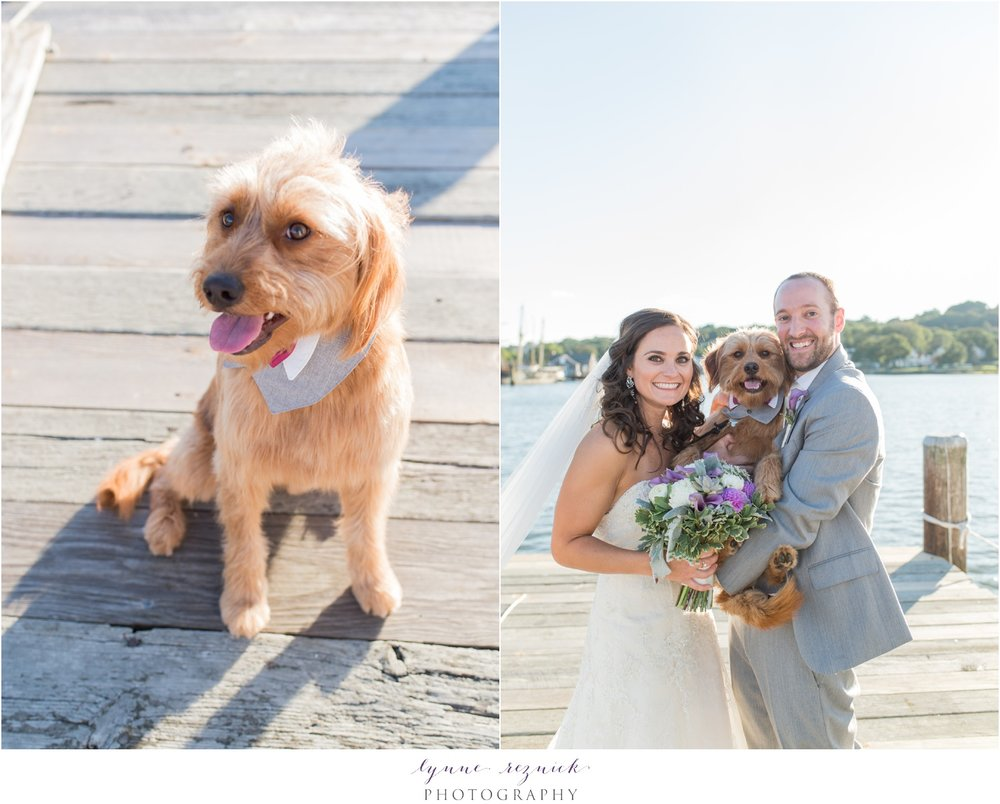 sunset mystic seaport bride and groom and puppy portraits
