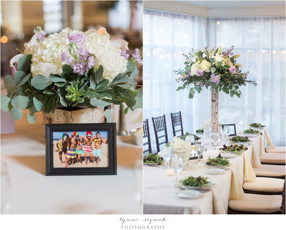 floral centerpieces tall and short Latitude 41 wedding