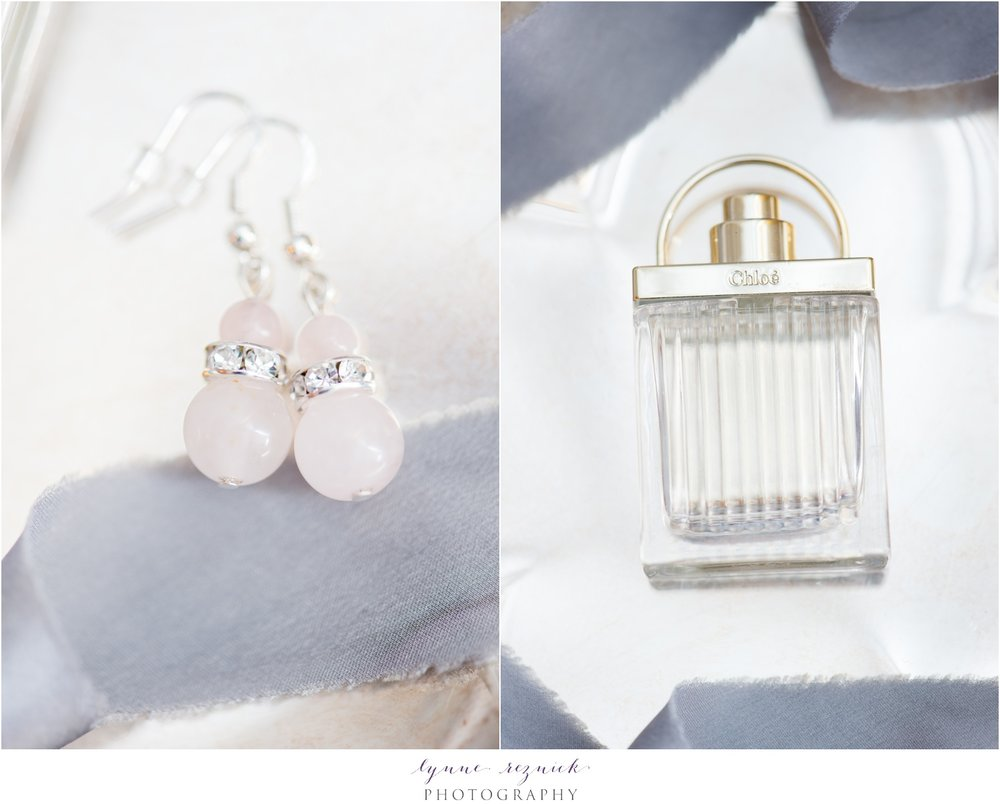 rose quartz wedding earrings and chloe perfume