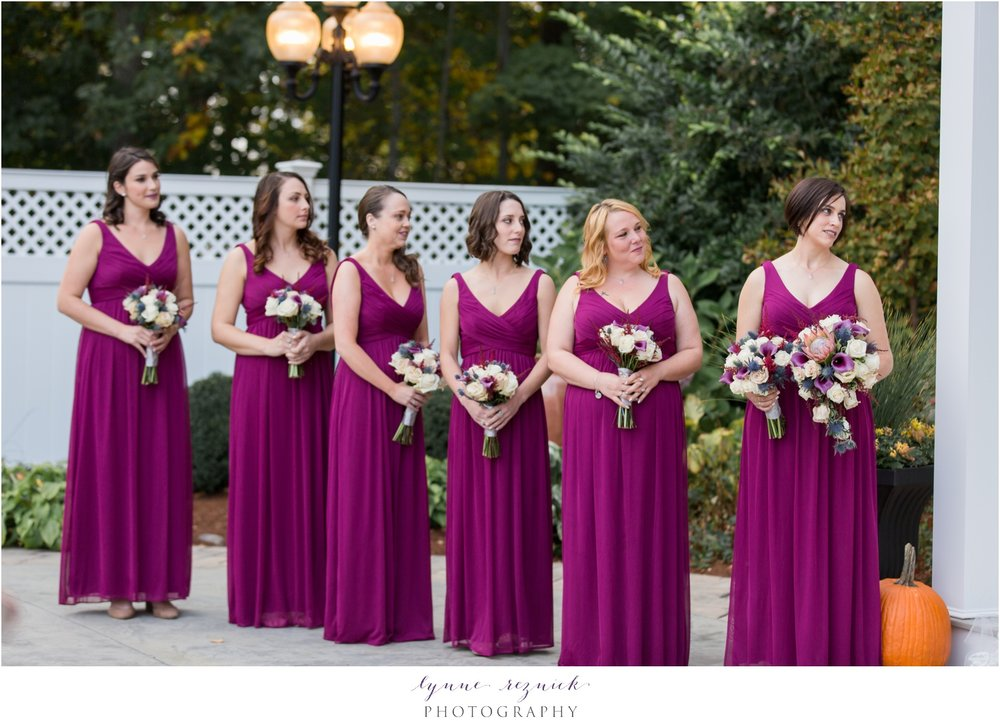 berry gowns and fall wedding bouquets for bridemaids by studio one twenty three west