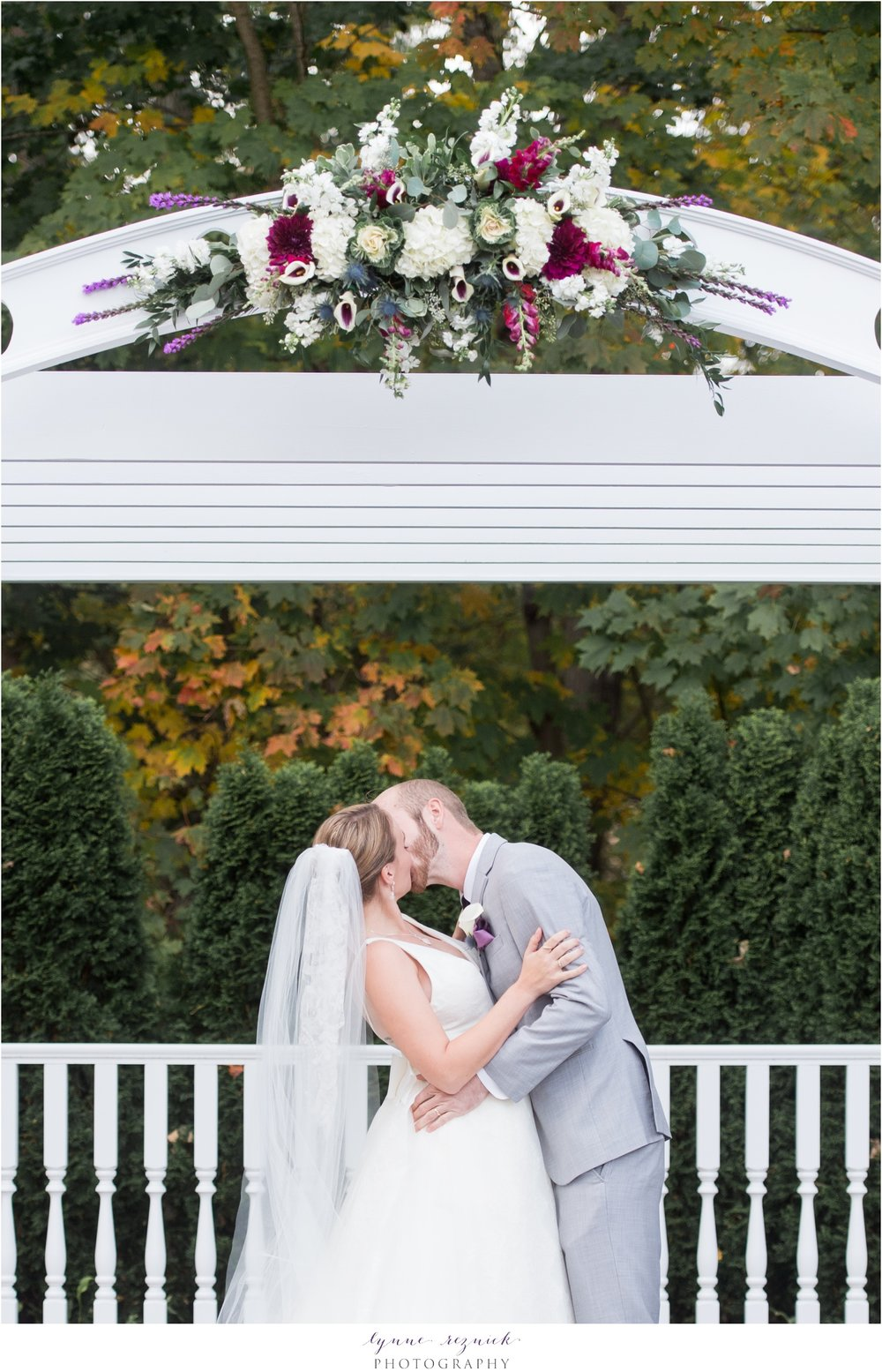first kiss in outdoor ceremony at saphire estate