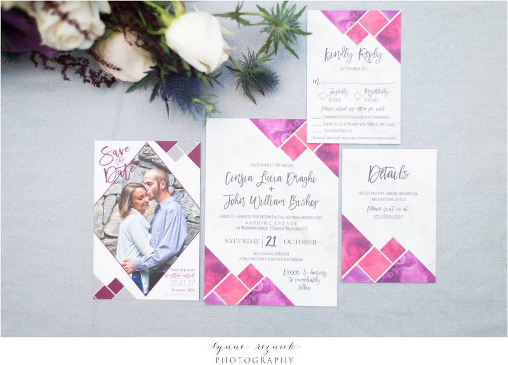 Hadley Designs modern berry colored wedding invitation suite by