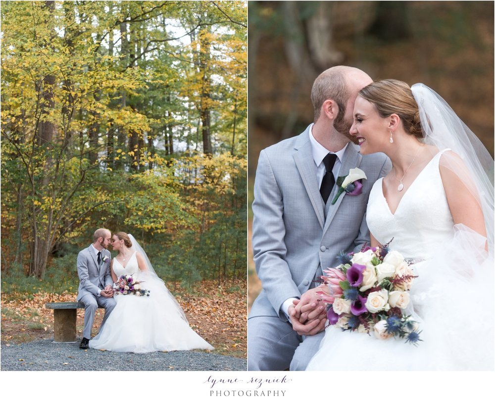 bride and groom and fall foliage at saphire estate in MA