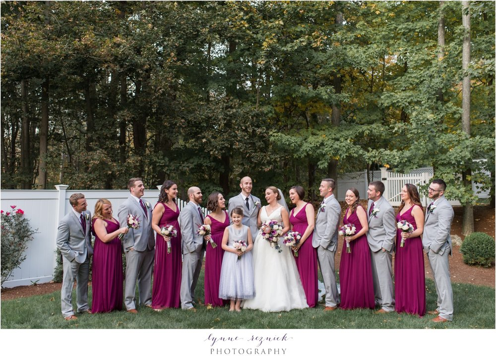 bridal party photos at saphire estate fall wedding