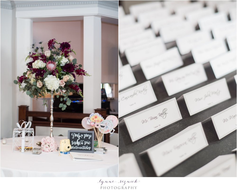 reception details at fall saphire estate wedding