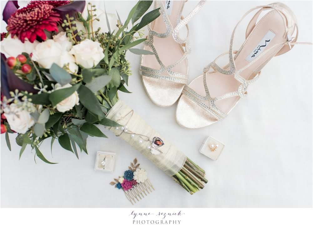 fall yacht club wedding bridal details