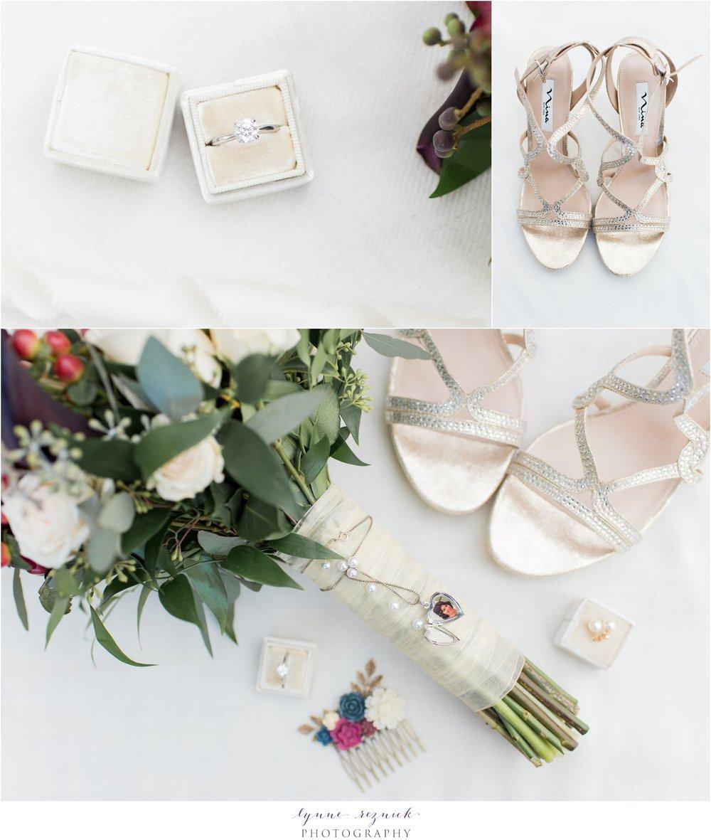 fall yacht club wedding bridal details