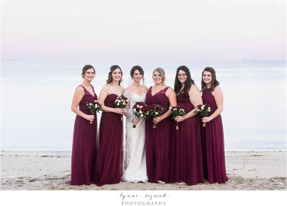 Cranberry fall bridesmaids yacht club wedding