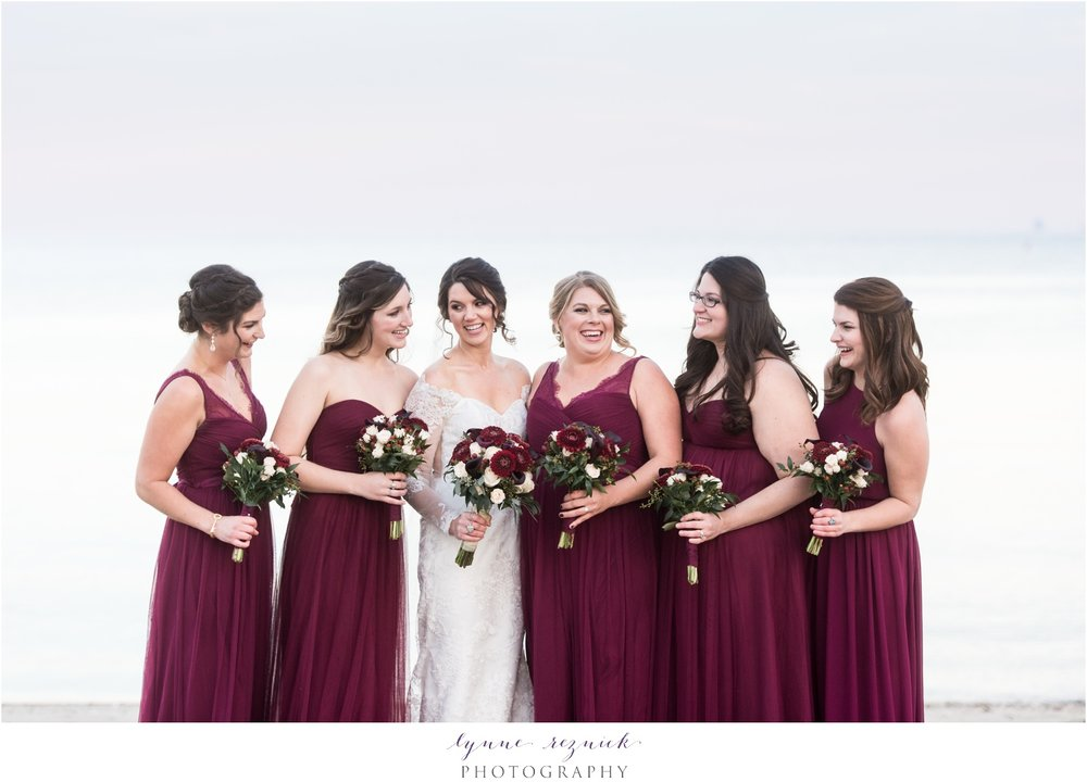 Cranberry fall bridesmaids yacht club wedding