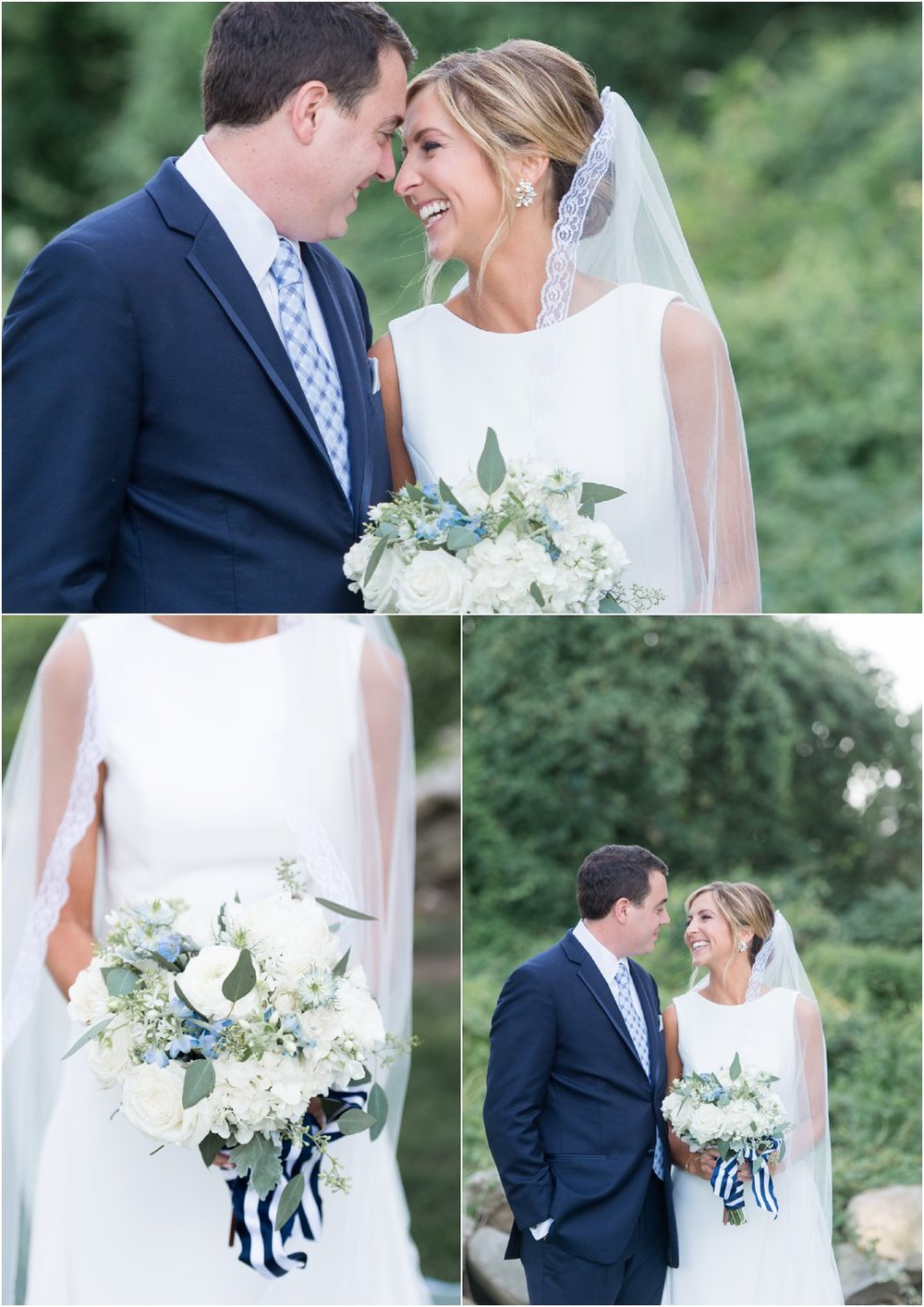 navy and white stripes preppy chic patterson club bride and groom