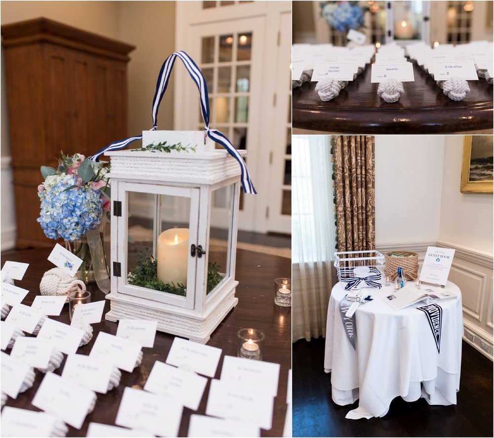 hurricane lantern nautical rope knot escort card table