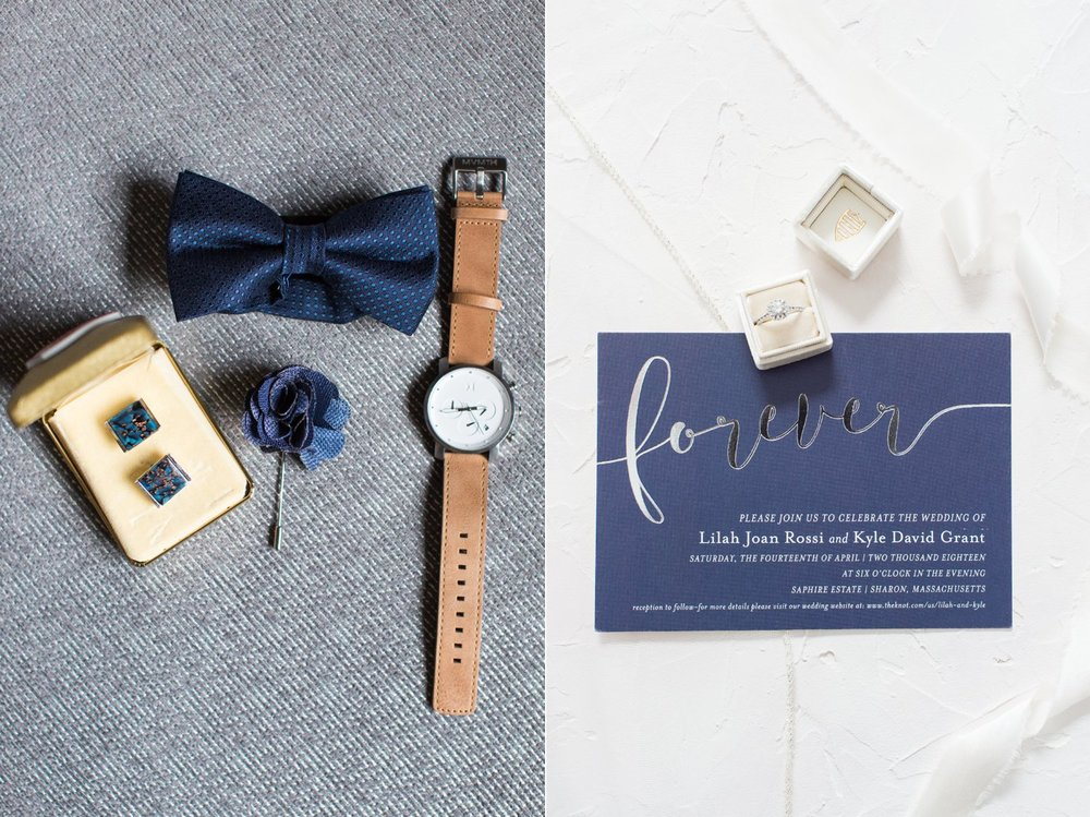 navy groom details and invitation suite for spring saphire estate wedding