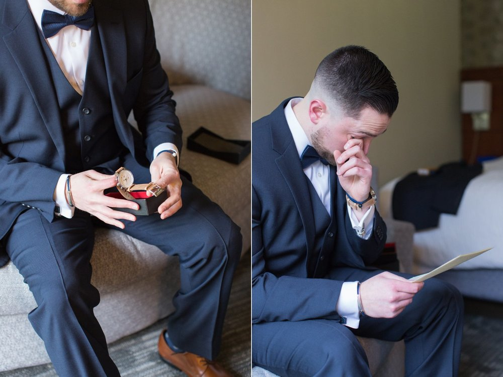groom opening letter from bride before spring saphire estate wedding