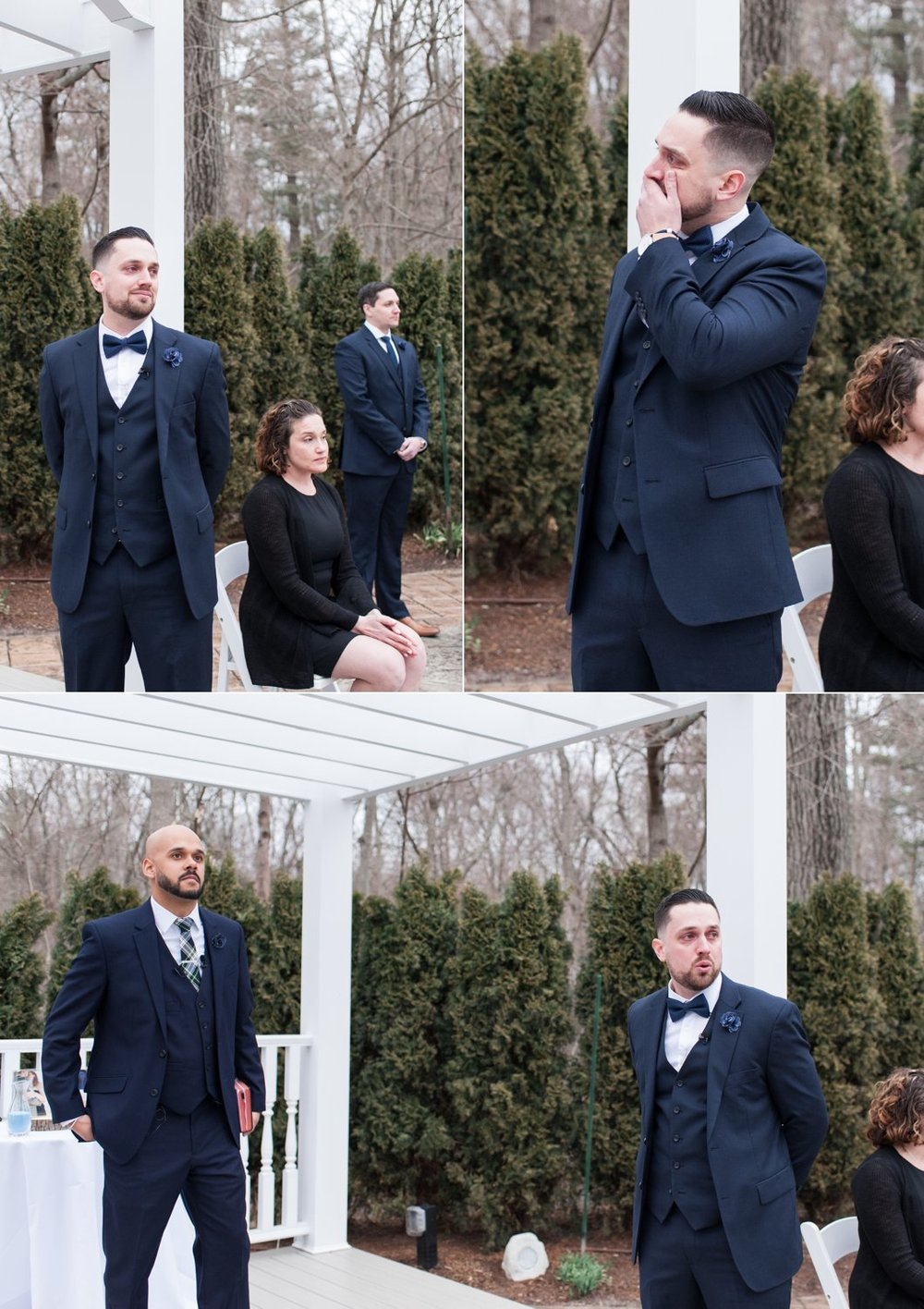best emotional groom reaction to bride coming down the aisle at spring saphire estate wedding