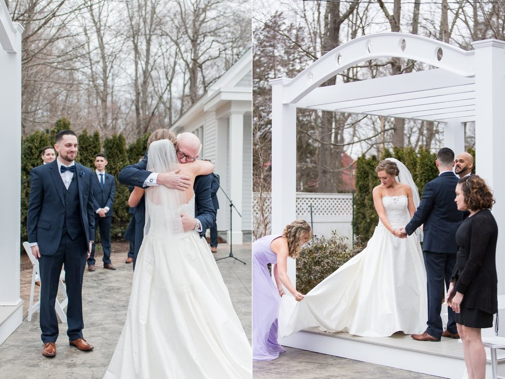dad gives bride away at outdoor spring ceremony at Saphire Estate