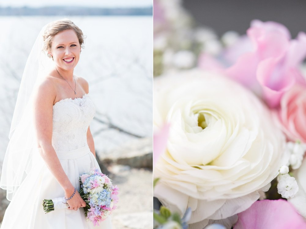 spring bride at saphire estate with pastel bouquet by Martins Flower Shop