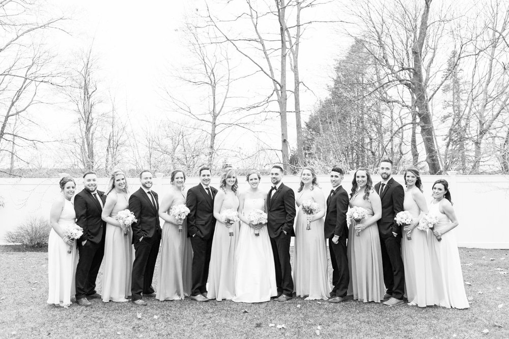 black and white bridal party at saphire estate spring wedding