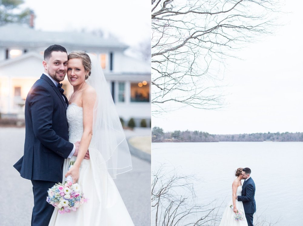 classic bride and groom portraits at saphire estate spring wedding on the water