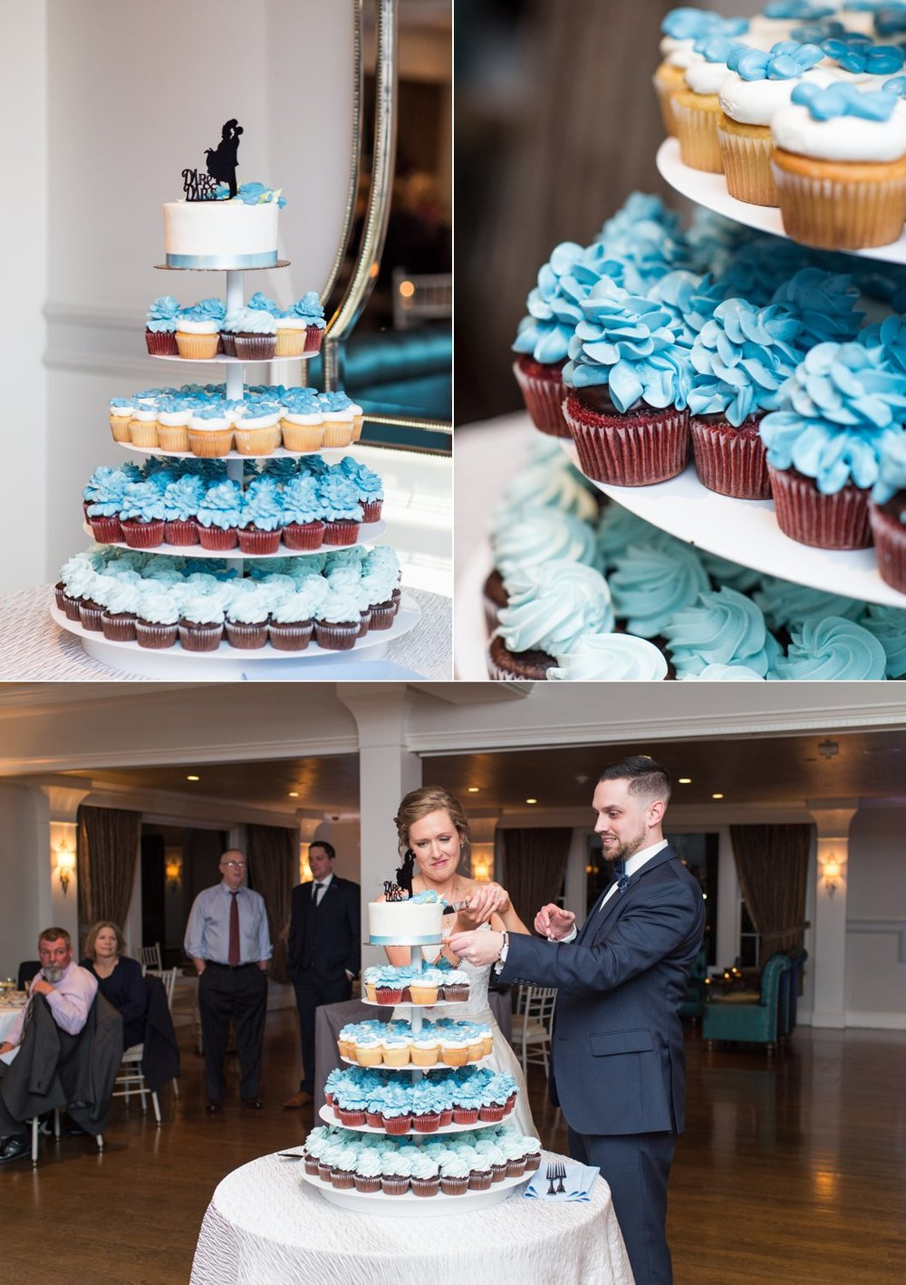 cupcakes from Dessert Works  and cake cutting by bride and groom