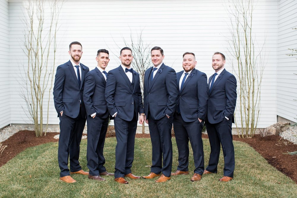 navy groomsmen at saphire estate spring wedding