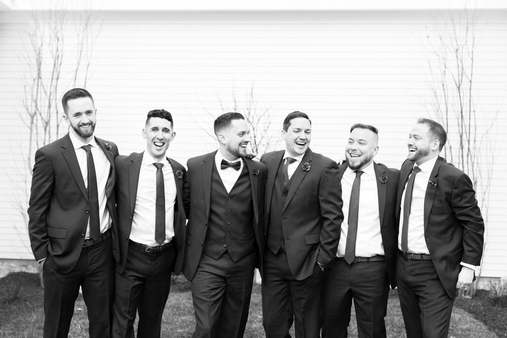 black and white groomsmen photo at spring saphire estate wedding