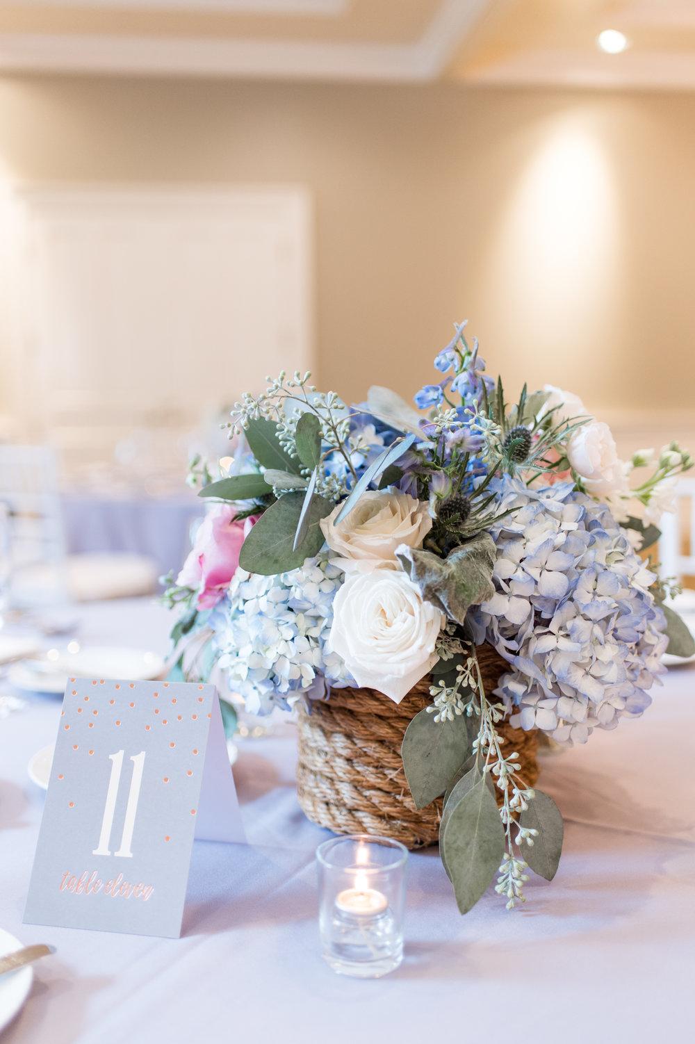 navy periwinkle summer wedding color palette inspiration floral centerpieces