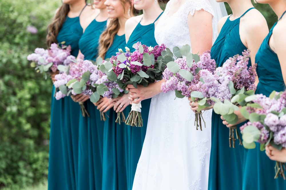 lilac bouquets by The Village blooms for rustic chic lake spofford wedding