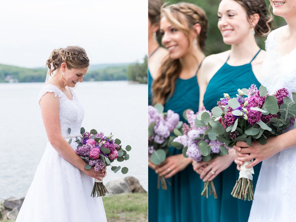 lilacs and teal dresses for chic lake spofford wedding day
