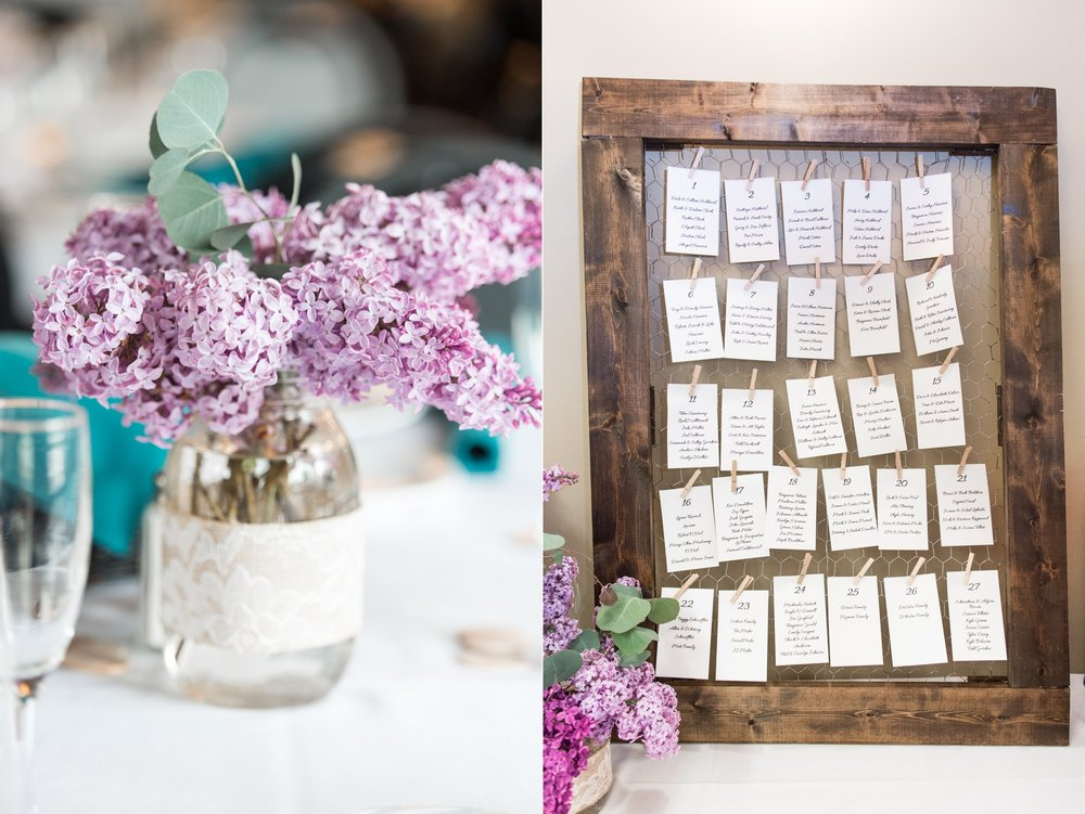 lilac centerpieces by The Village blooms for rustic chic lake spofford wedding