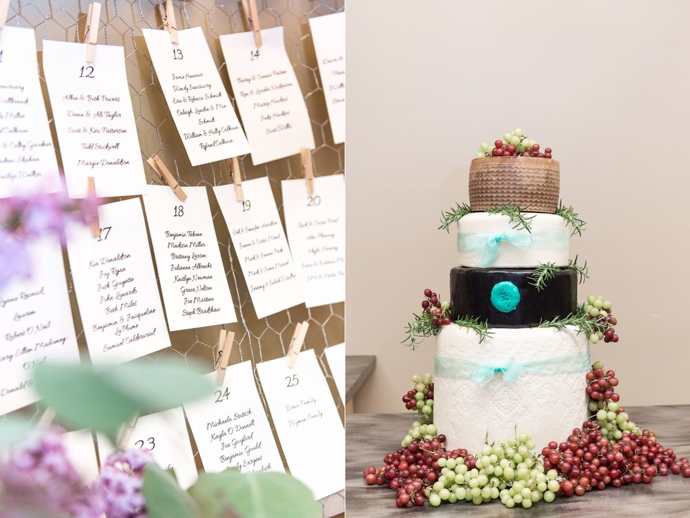cheese wheel cake and escort card display at rustic chic lake spofford wedding