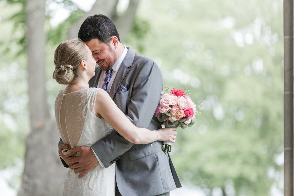 Glen Manor House Wedding Rosa clara dress bride and groom terrace in the rain for first look