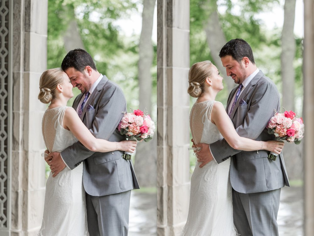 glen manor house wedding in rain first look under terrace in spring with blush accents and bride in rosa clara dress with feathers