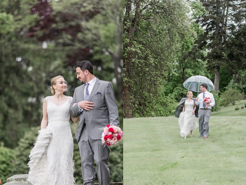 glen manor house wedding in rain first look on the grounds in spring with blush accents with clear umbrella