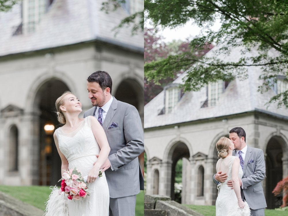 glen manor house wedding in rain first look for bride and groom on the grounds in spring with blush accents