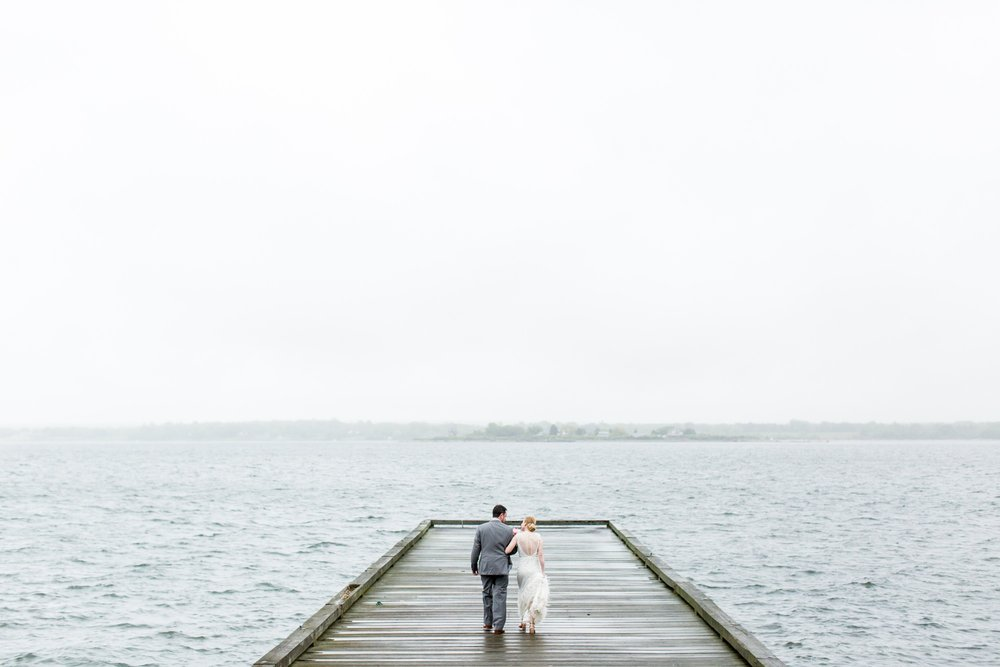 rainy glen manor house wedding bride and groom on the docks
