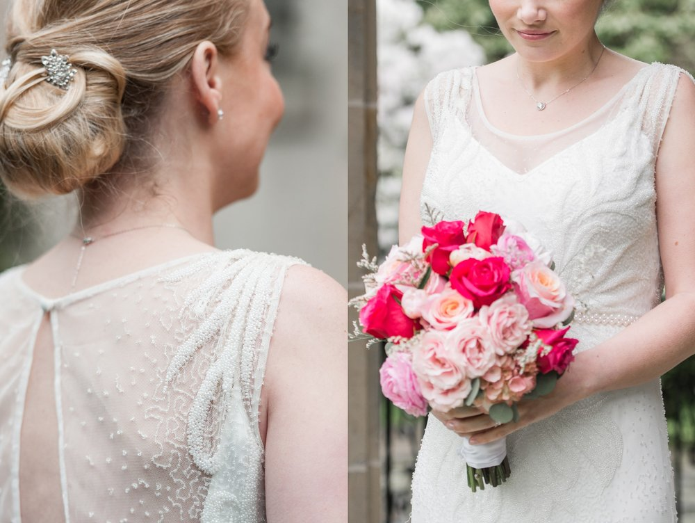 beading on rosa clara dress from ceremony boston and blush pink and hot pink bouquet for glen manor house wedding from pranzi catering and events