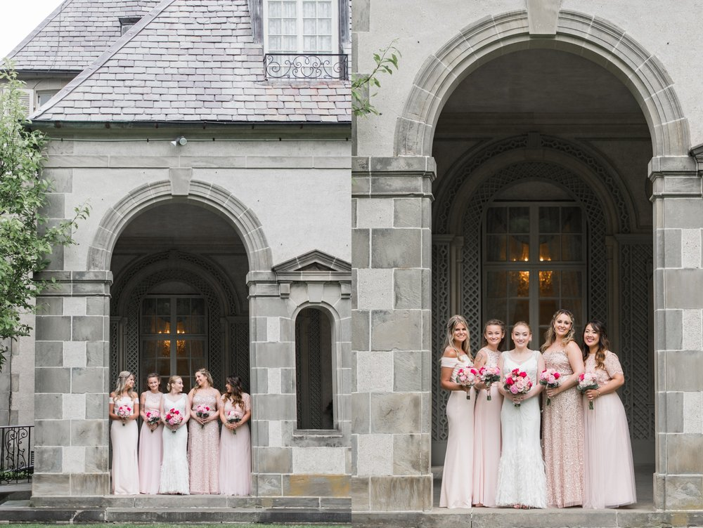 blush dresses sequins and blush lace for bridesmaids at glen manor house wedding on rainy spring day in portsmouth ri
