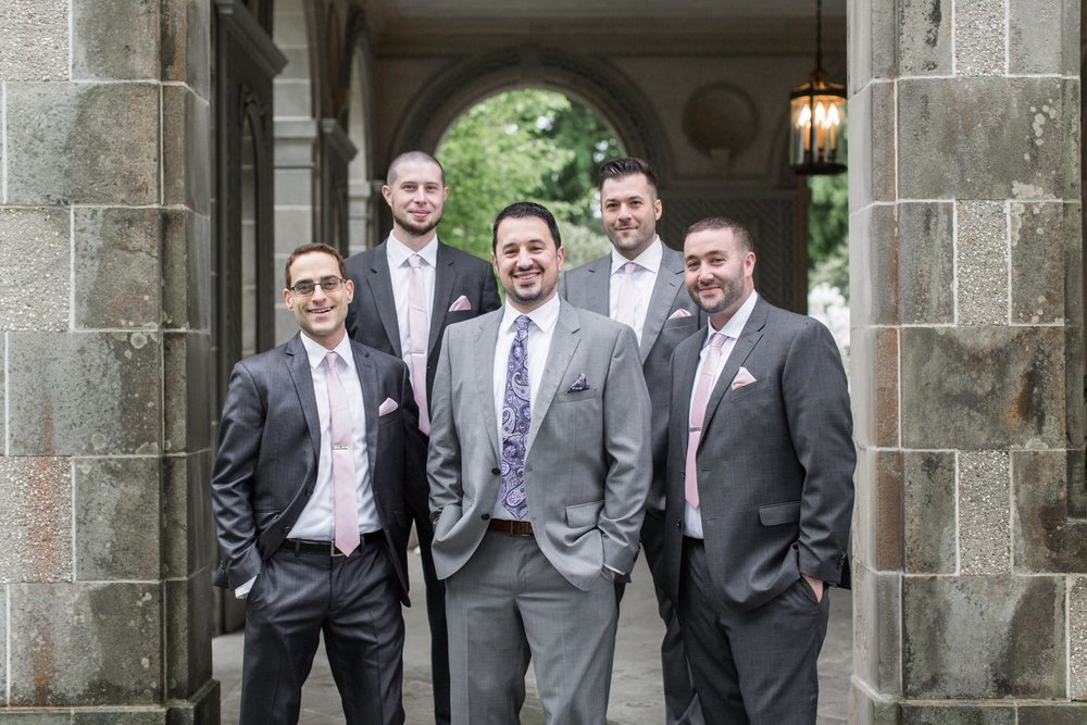groomsmen in gray suits for rainy spring glen manor house wedding