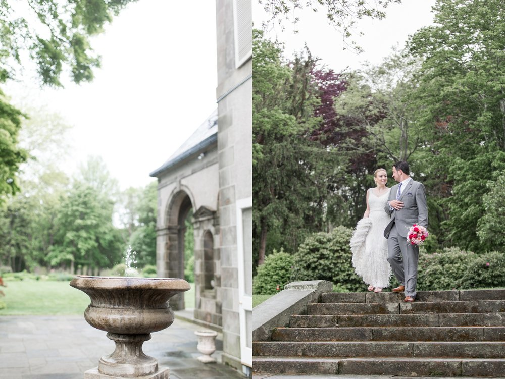 glen manor house wedding in rain first look on the grounds in spring with blush accents