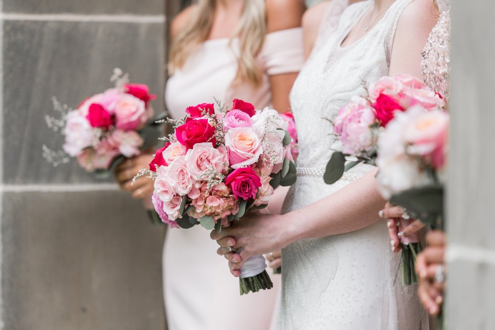 blush pink and hot pink bouquet for glen manor house wedding from pranzi catering and events