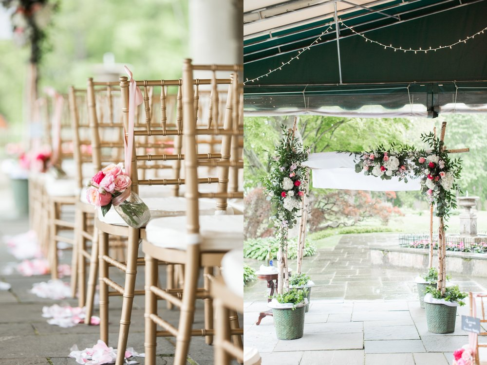 glen manor house wedding ceremony under awning for rain and chuppa with flowers by pranzi catering and events