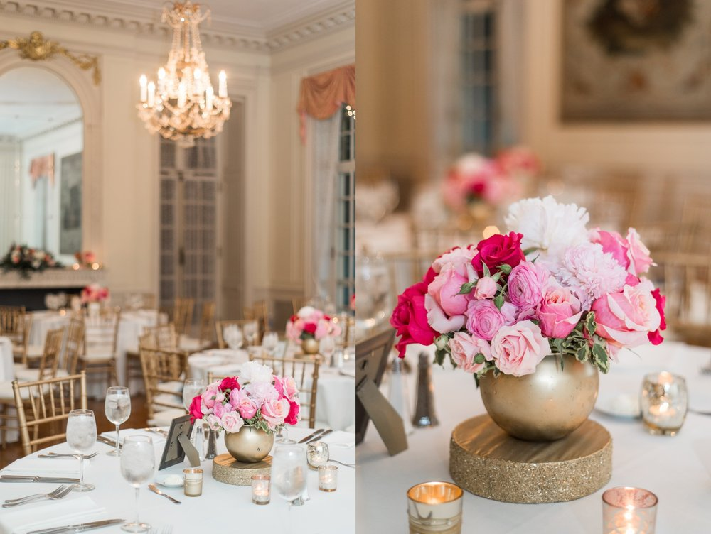 glen manor house wedding blush pink and gold flower centerpieces from pranzi catering and events