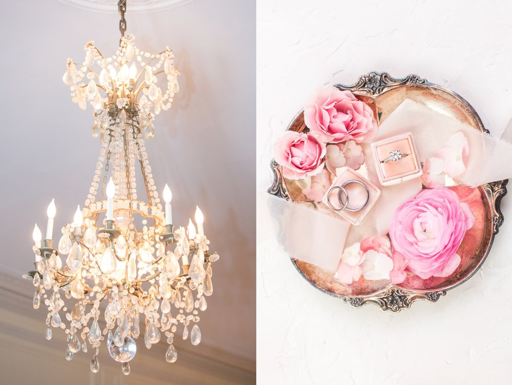glen manor house wedding details chandelier vintage silver tray and mrs box in blush flat lay style